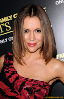 Alyssa Milano in red and black dress