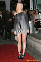 Amy Smart grey skin tight little dress