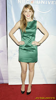 Aimee Teegarden - Sexy little green dress NBC Universal Press Tour All-Star Party