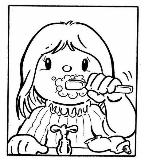 Niño cepillandose los dientes para colorear - Imagui