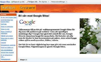 Handledning på svenska till Google Sites webbsajtprogram