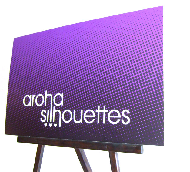 Aroha Silhouettes craft show display setup - sign on an easel - affordable business sign for craft shows