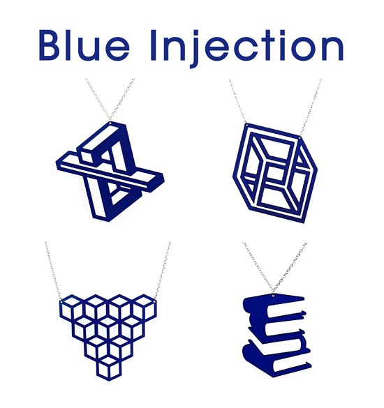 Aroha Silhouettes, blue vinyl record necklaces