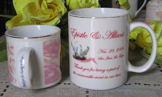 kiddie mug and California mug, both with gold rims