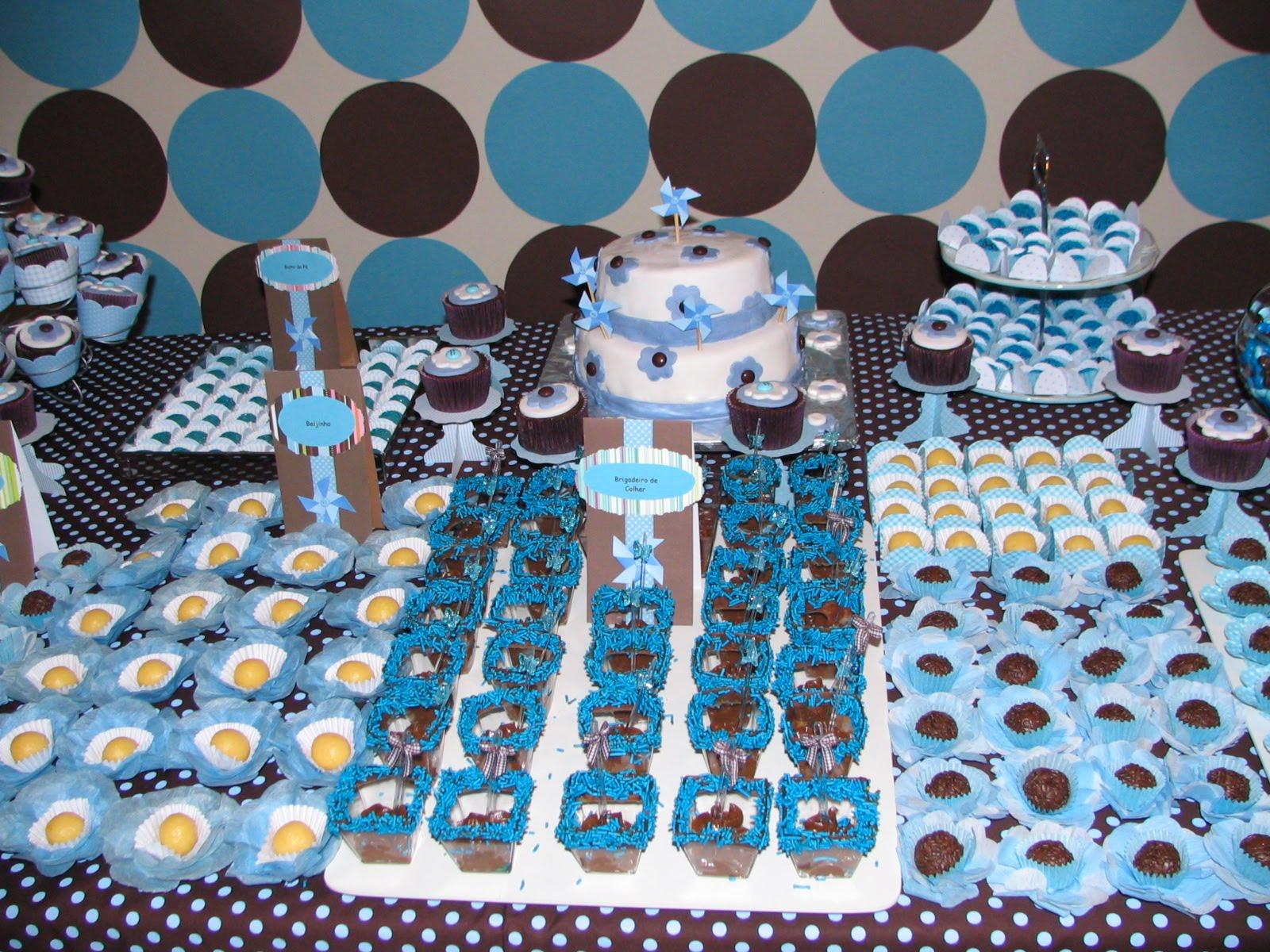 decoracao festa urso azul e marrom: : AZUL COM POÁS (BOLINHAS) NA COR MARROM: FESTA E DECORAÇÃO