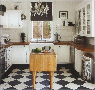 Traditional Country Rustic Style Kitchen Ceramic Floor Checkered Tile Cheap Kitchens
