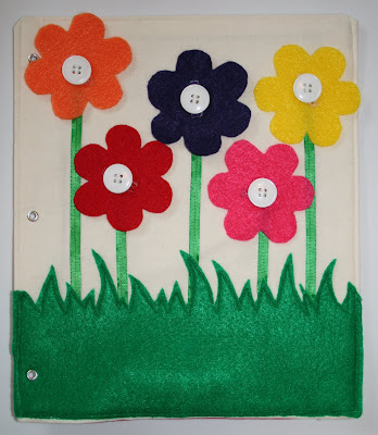 quiet book flowers button page idea