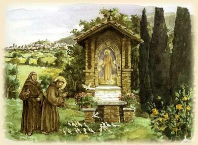 San Francesco predica agli uccelli (dai Fioretti) dans amici animali amici veri acquerello2