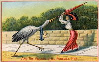 A woman swats away the stork which has brought her her child