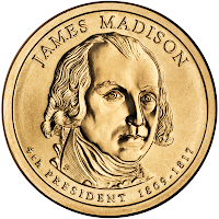 Presidential $1 Coin Program coin for James Madison. Obverse