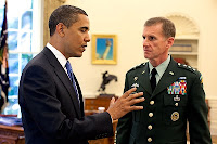 President Barack Obama meets with Army Lt. Gen. Stanley A. McChrystal, in the Oval Office at the White House, May 19, 2009