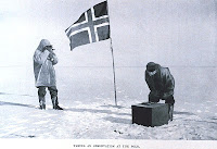 Taking an observation at the pole, In: The South Pole, by Roald Amundsen, 1872-1928. P. 112, Volume II, Library Call Number M82.1/99 A529s