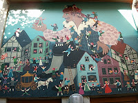 Gulliver in Liliput - This picture has been made to a mural at the facade of a toy-shop in Bremen, Germany