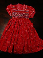 Red Flowery Smoked Dress