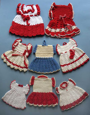 vintage crochet potholder dresses