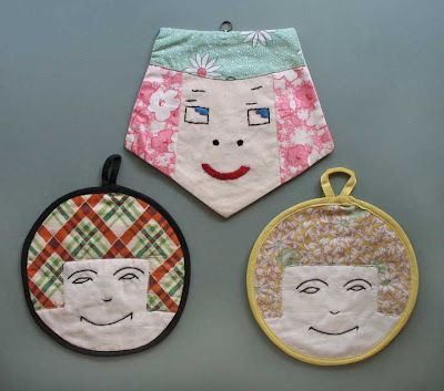 vintage potholder faces