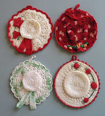 vintage crochet potholder hats