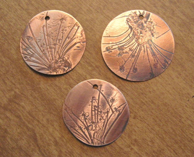 Queen Annes Lace, mill rolled copper pendants.