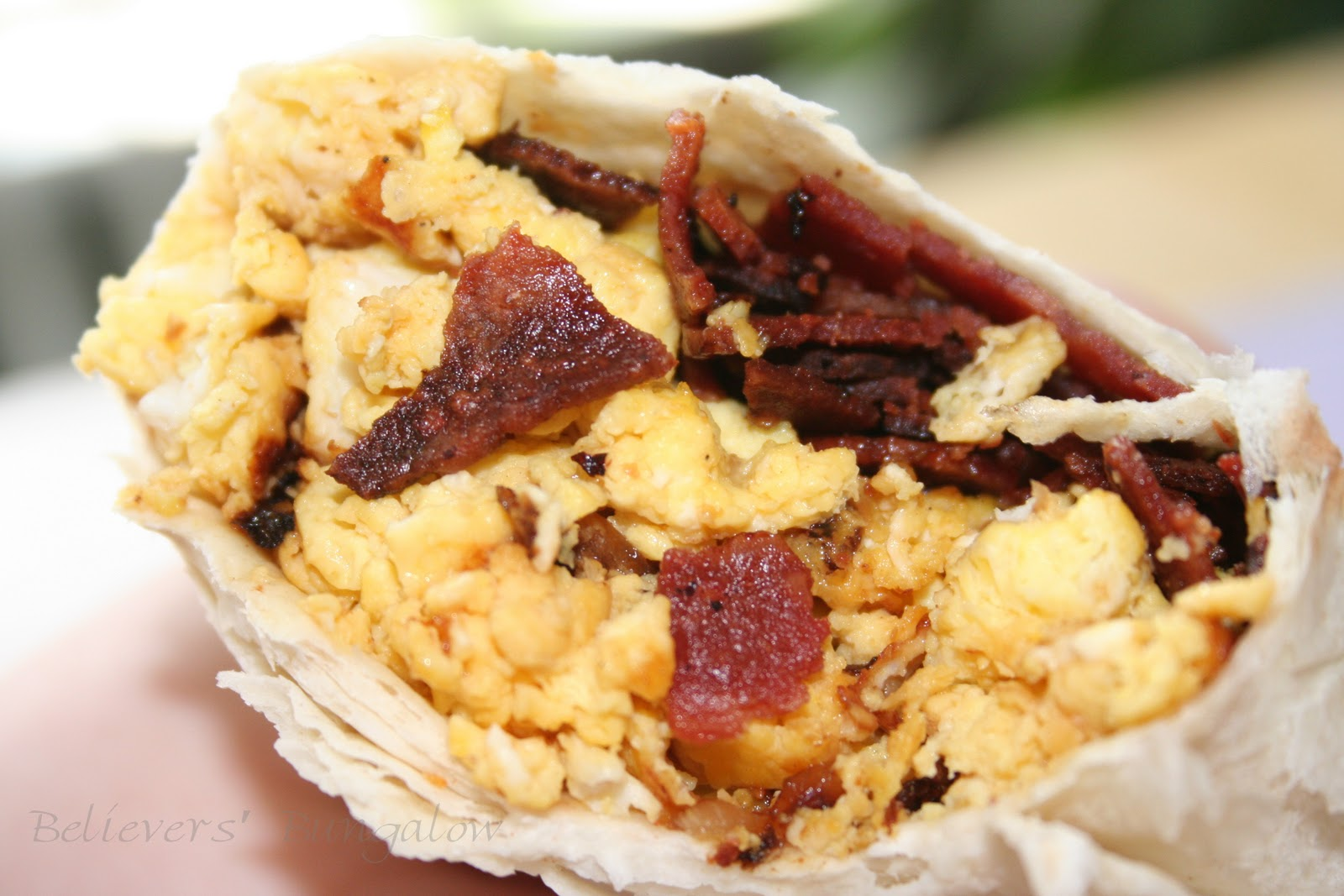 ingredients per burrito 1 large burrito tortilla 2 eggs 3 pieces of ...