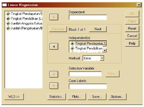 Albarublogs contoh analisis multiple regresi menggunakan spss klik tingkat pendapatan x1 tingkat pendidikan x2 dan jumlah anggota keluarga x3 pada kotak independents sedangkan jumlah pengeluaran y pada ccuart Images