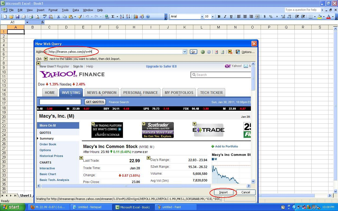 Yahoo Stock Quotes Stock Quotes In Excel  Toreto.co
