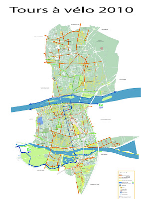 carte des pistes cyclables de Tours et agglomération