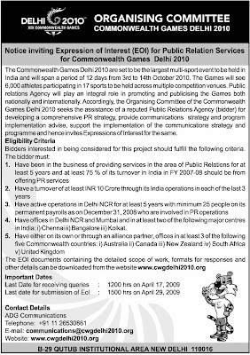 Commonwealth Games Organizing committee invites tender(EOI) for Public Relation Services.