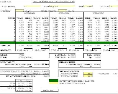 Gage R&R excel spreadsheet