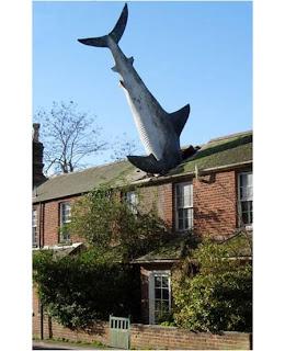 Escultura de um tubarão no telhado