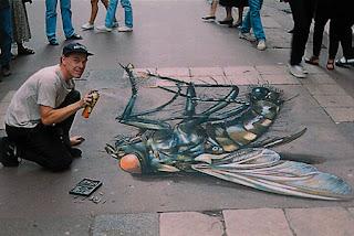 Desenho insecto - Desenhos tridimensionais na calçada - Giz - Julian Beever
