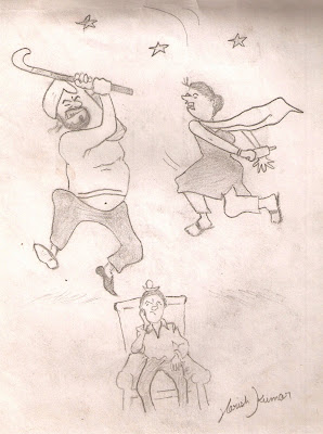 pencil sketch of Mr. And Mrs. Banta Fight