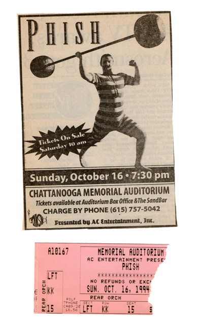 Phish on Phriday Chattanooga TN 1994 10 16 Ticket Stub Newspaper Clipping