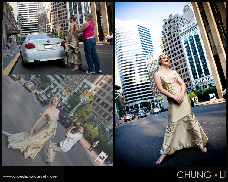 Nontraditional Urban bridal portrait downtown san francisco