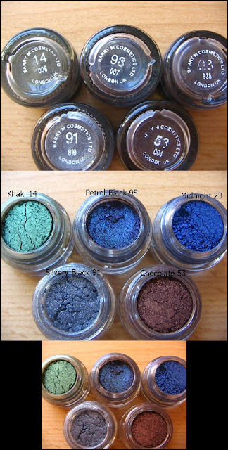 Swathes of Barry M dazzle dust in colors 4 Khaki 98 Petrol Black 23 Midnight 91 Silvery Black 53 Chocolate