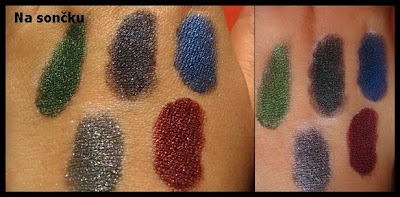 Pictures of Barry M dazzle dusts and swatches of colors7 Scarlet pink glitter dust 84 Cherry Red 88 Winter Berry 55 Fig