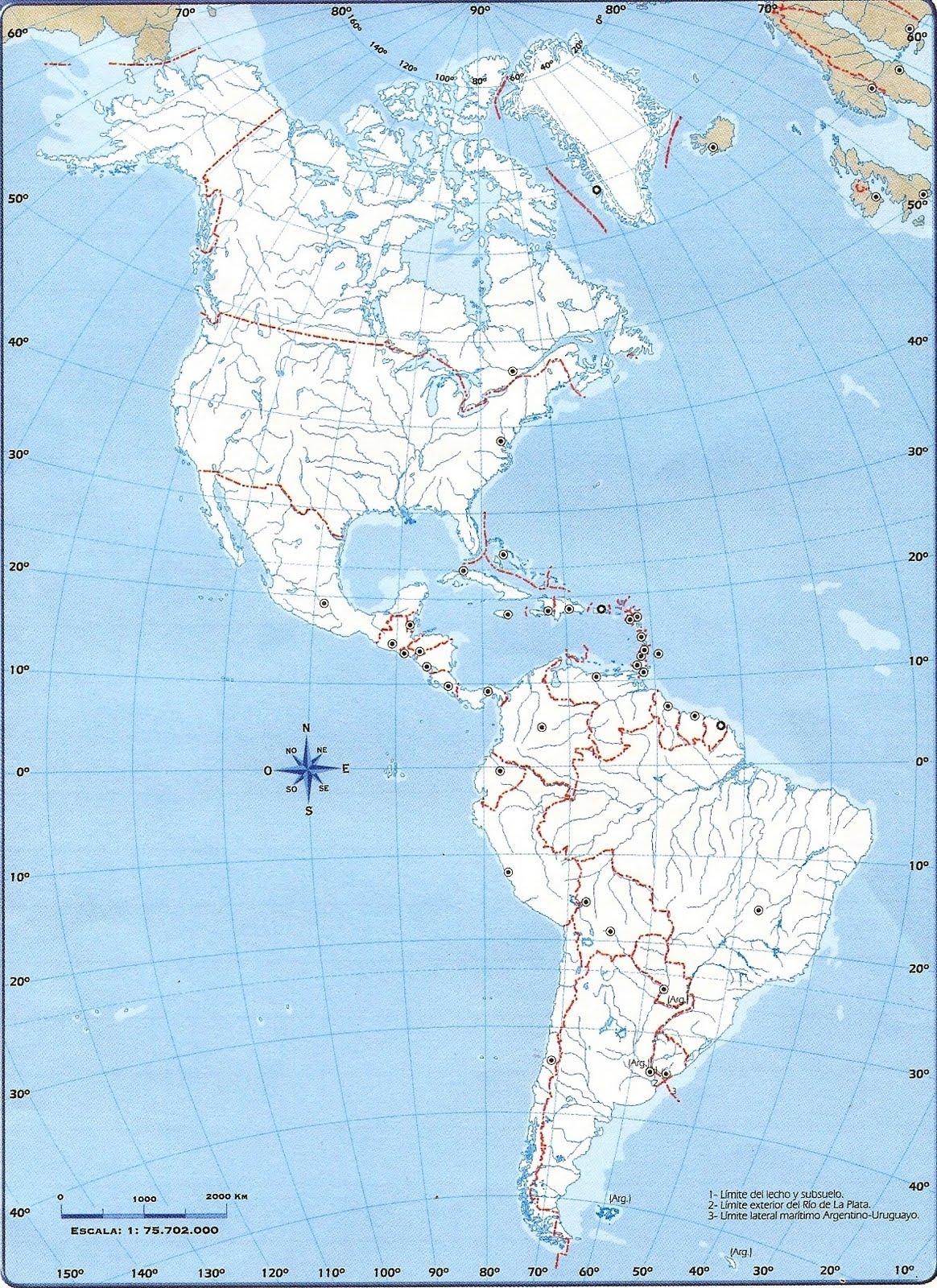 Mapa Mudo Politico De America Del Norte Y Del Sur