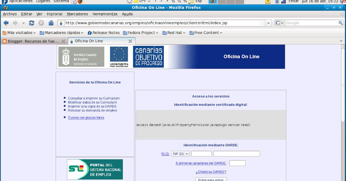 Recursos de fuerteventura cartilla del paro en fuerteventura for Oficina virtual sellar paro