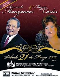 ARMANDO MANZANERO Y MAGGIE CARLES ESTE SABADO 21 DE MARZO EN MIAMI