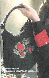 вязаная сумка спицами и крючком