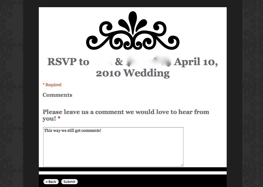 Westside Wedding and Google RSVP wedding form