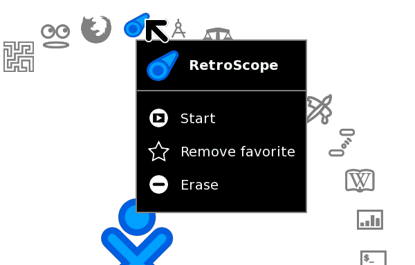 RetroScope launcher on OLPC XO Home