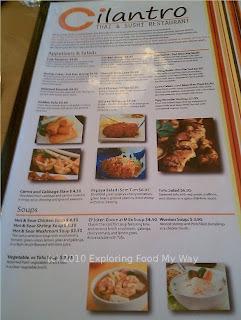 Cilantro's Menu Page 1