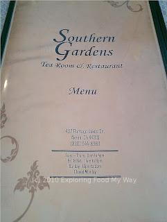 Southern Gardens' Menu