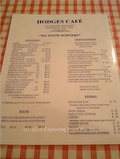 Hodge's Menu Page 1