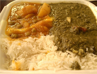 Palak Paneer and Aloo Muteer with Basmati Rice