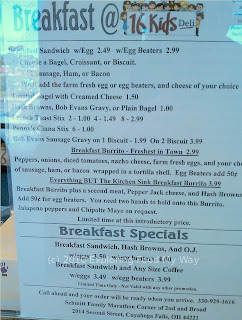 16 Kids Deli's Breakfast Menu
