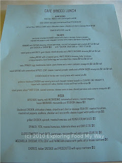 Cafe Bricco's Lunch Menu Front