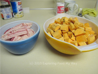 Prepped Sweet Potatoes and Bacon
