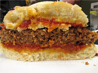 Side Shot of Vegan Pizza Burger