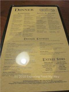 Hudson's Dinner Menu Front